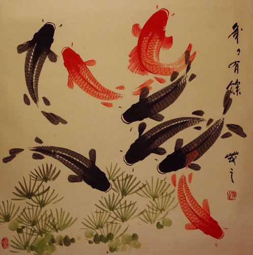 Large Koi Fish Painting on Antiqued Chinese Paper