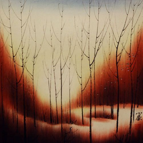 Sunset Dyes the Forest with Color - Asian Painting