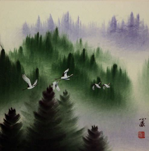 "See how ""Homeward Bound Cranes - Asian Art Painting"" would look after being professionally framed"