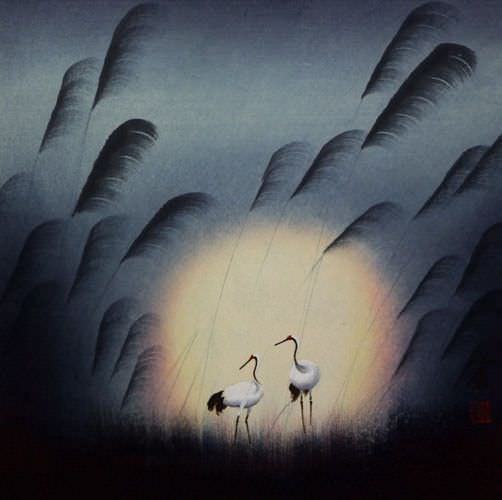Cranes in Reed Grass - Chinese Art Painting
