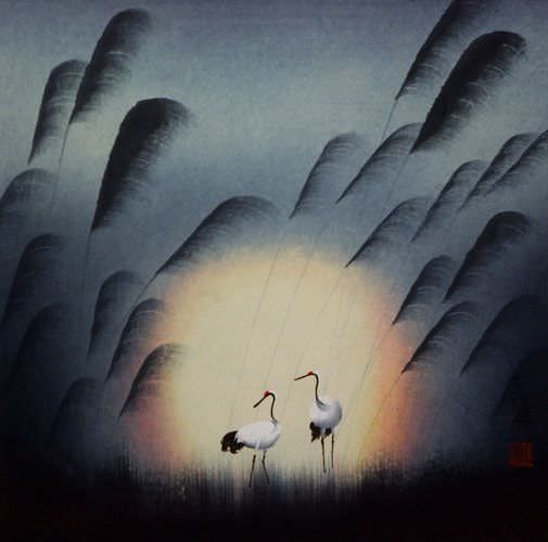 "See how ""Cranes in Reed Grass - Asian Art Painting"" would look after being professionally framed"