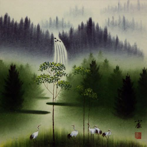 Waterfall Delight Watercolor Chinese Landscape Painting
