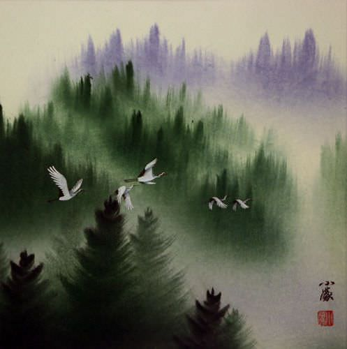Homeward Bound Cranes<br>Asian Art Portrait