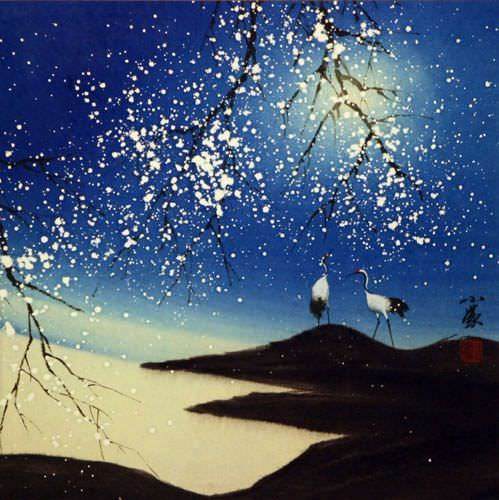 Blue Dreams - Chinese Cranes Landscape Painting