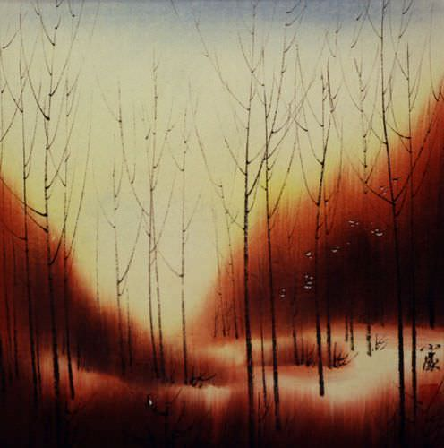Sunset Dyes the Forest with Color - Asian Landscape Painting