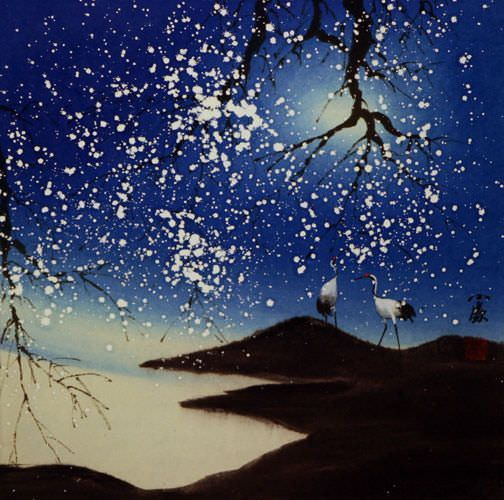 Blue Dreams - Asian Cranes Landscape Painting