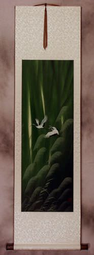 Summer Chinese Cranes Landscape Wall Scroll