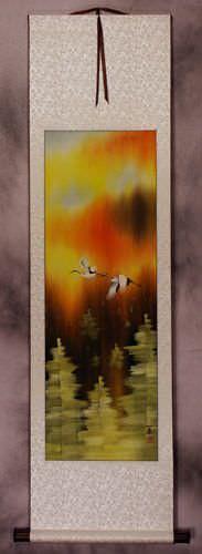 Cranes Taking Flight in Autumn Wall Scroll