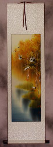 Autumn Rhyme - Colorful Asian Cranes Wall Scroll