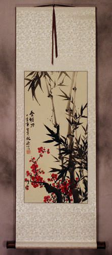 Plum Blossom and Black Ink Bamboo Chinese Wall Scroll