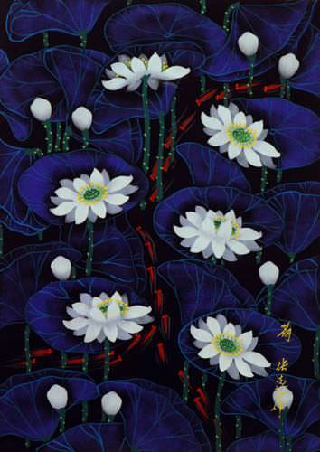 Small Fish in Lotus - Chinese Folk Art Painting