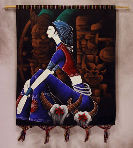 Girl of China Painted Batik Wall Hanging