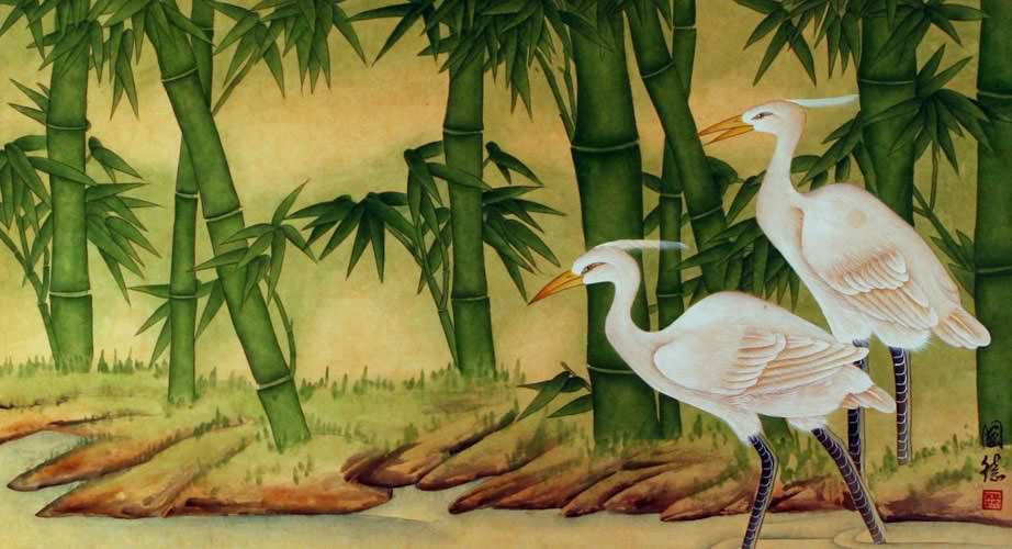Egrets and Bamboo Painting