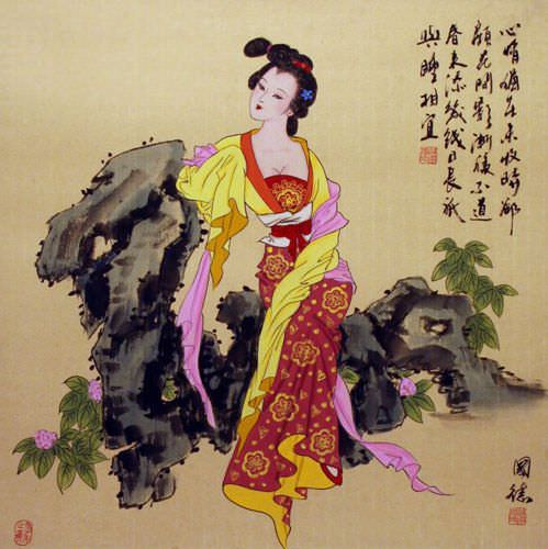 Antique-Style Chinese Woman Painting