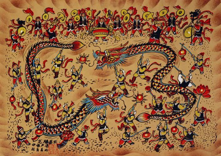 Dragon Dancing Southern China Folk Art Painting