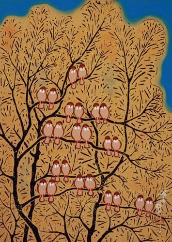 "See how ""Gathering of Birds - Chinese Folk Art Painting"" would look after being professionally framed"