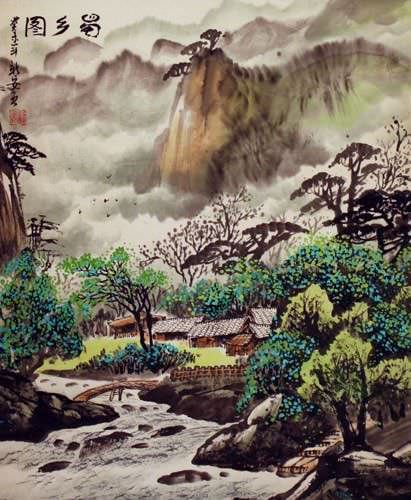"See how ""Sichuan Village Landscape Painting"" would look after being professionally framed"