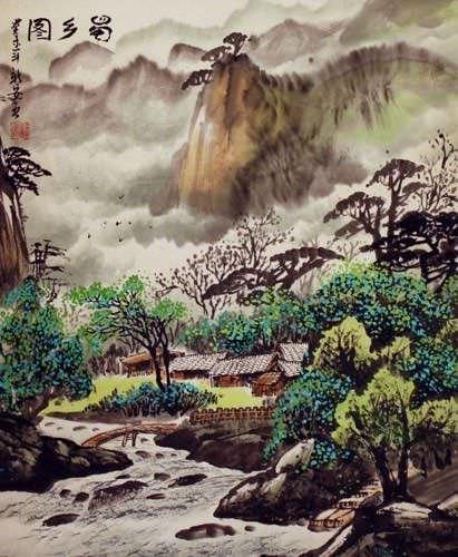 Sichuan Village Landscape Painting