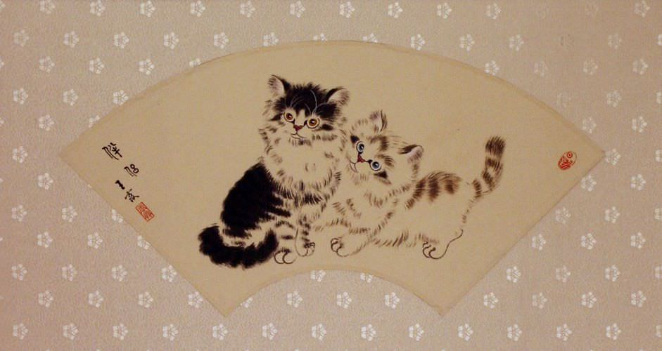 Fan-Style Kittens and Butterfly Painting