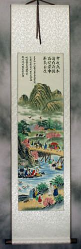 North Korean Village Scene Folk Art Wall Scroll