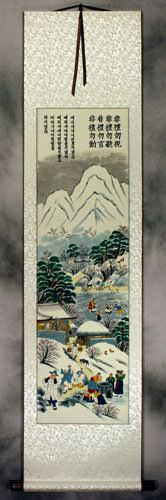 Winter Gathering in North Korea Wall Scroll