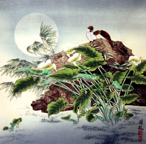 Birds in Moonlight Painting