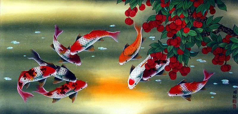 "See how ""Huge Koi Fish and Lychee Fruit Chinese Painting"" would look after being professionally framed"