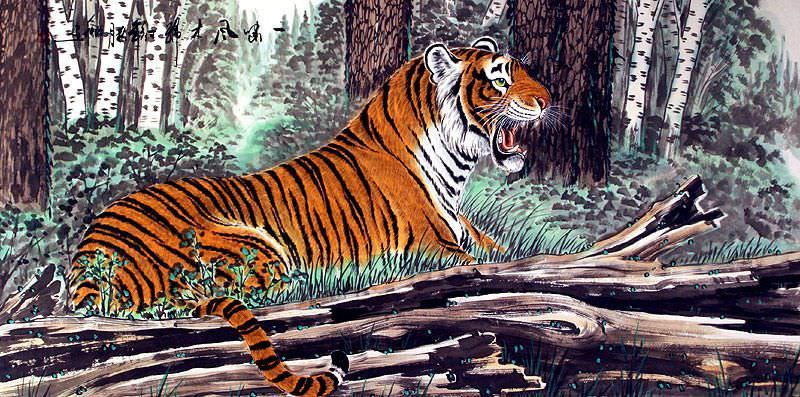 Roaring Chinese Tiger Painting