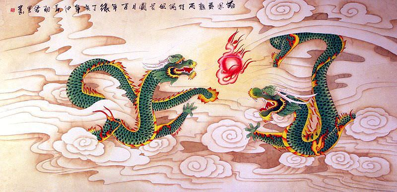 Dragons Play with a Pearl of Lightning - Chinese Painting