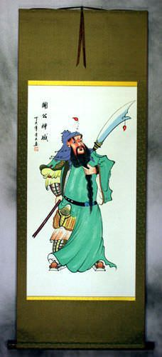 Guan Gong Warrior Saint Chinese Silk Wall Scroll