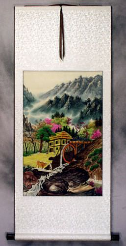North Korean Water Wheel Village Wall Scroll
