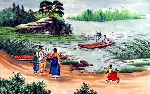 North Korean Riverside Scene Painting