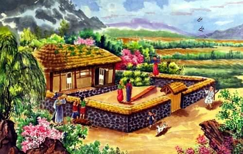 North Korean Farm Village Painting