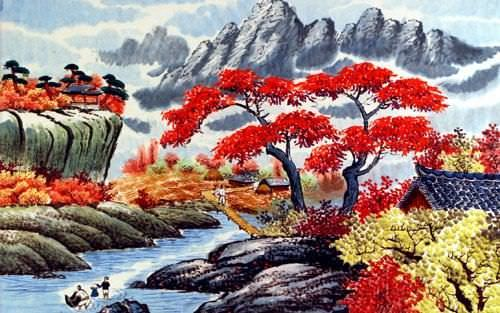 North Korean River Village Painting