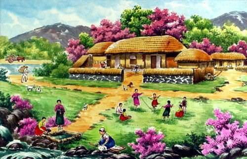 "See how ""North Korean Village House Painting"" would look after being professionally framed"