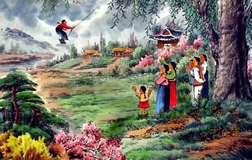 "See how ""Swinging Fun - North Korean Painting"" would look after being professionally framed"