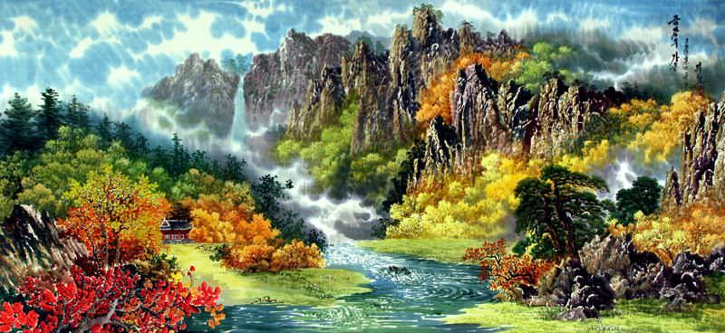 North Korean Waterfall Landscape Painting