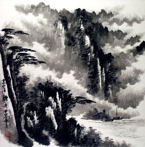 Waterfall & Pine Tree Mountain Painting