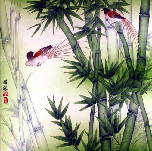 "See how ""Chinese Bird & Bamboo Painting"" would look after being professionally framed"