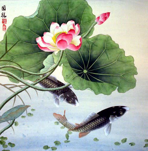 Koi Fish and Lotus Flower - Chinese Art Painting