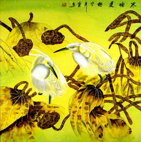 Egrets and Lotus Painting