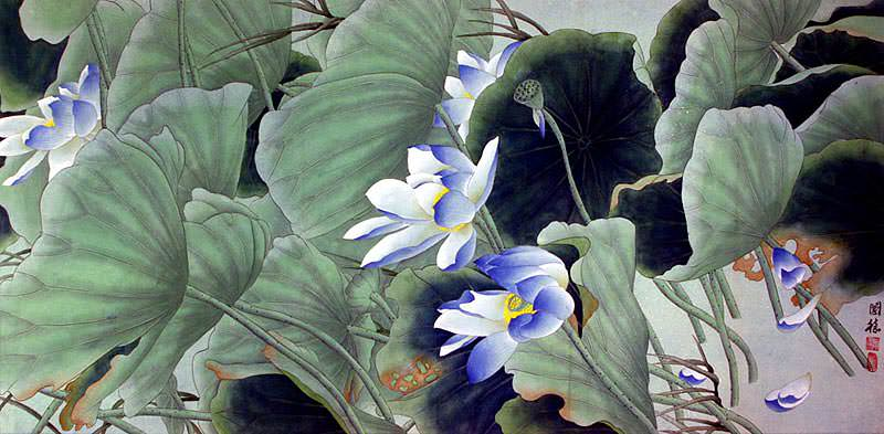 Beautiful Blue Lotus Flowers - Large Painting