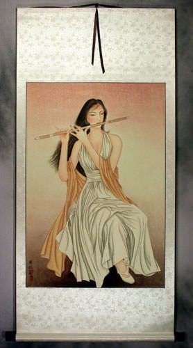 Beautiful Woman Playing Flute Contemporary Chinese Art
