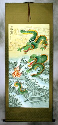 Big Two Dragons Playing with Pearl of Lightning<br>Wall Scroll