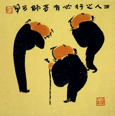 Three Men Share Wisdom & Knowledge - Asian Philosophy Art