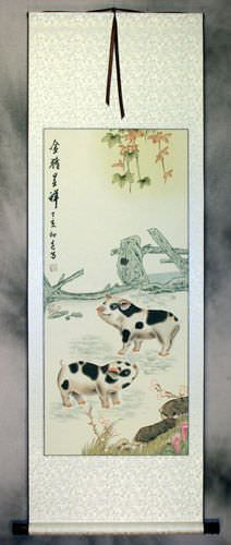 Pigs on the Ranch - Wall Scroll