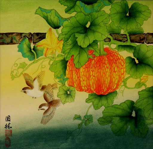 "See how ""Birds and Pumpkin Vines Painting"" would look after being professionally framed"
