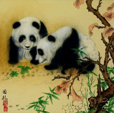 "See how ""Chinese Panda Painting"" would look after being professionally framed"