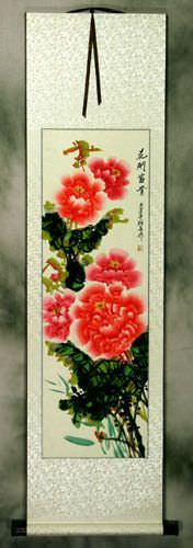 Red and Pink<br>Peony Flower Wall Scroll