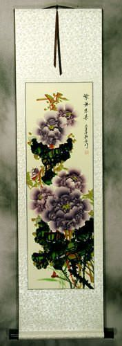 Purple Peony Flower Oriental Wall Scroll